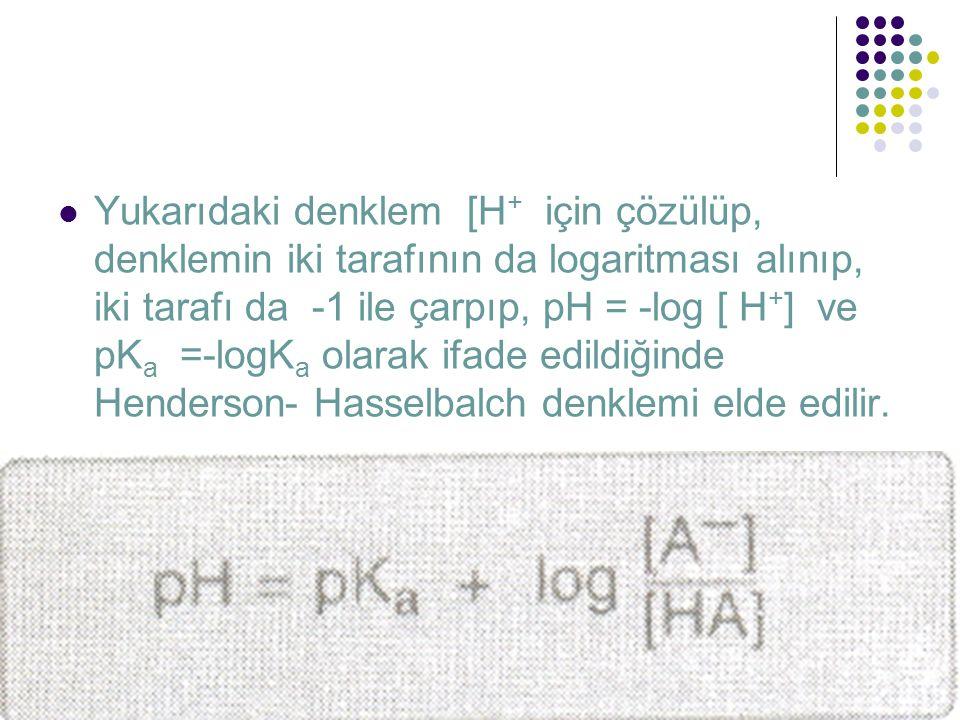  Yukarıdaki denklem [H + için çözülüp, denklemin iki tarafının da logaritması alınıp, iki tarafı da -1 ile çarpıp, pH = -log [ H + ] ve pK a =-logK a