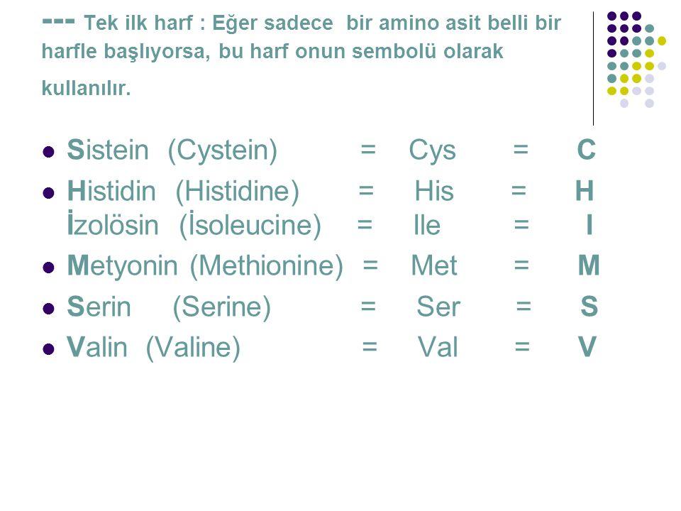 --- Tek ilk harf : Eğer sadece bir amino asit belli bir harfle başlıyorsa, bu harf onun sembolü olarak kullanılır.  Sistein (Cystein) = Cys = C  His