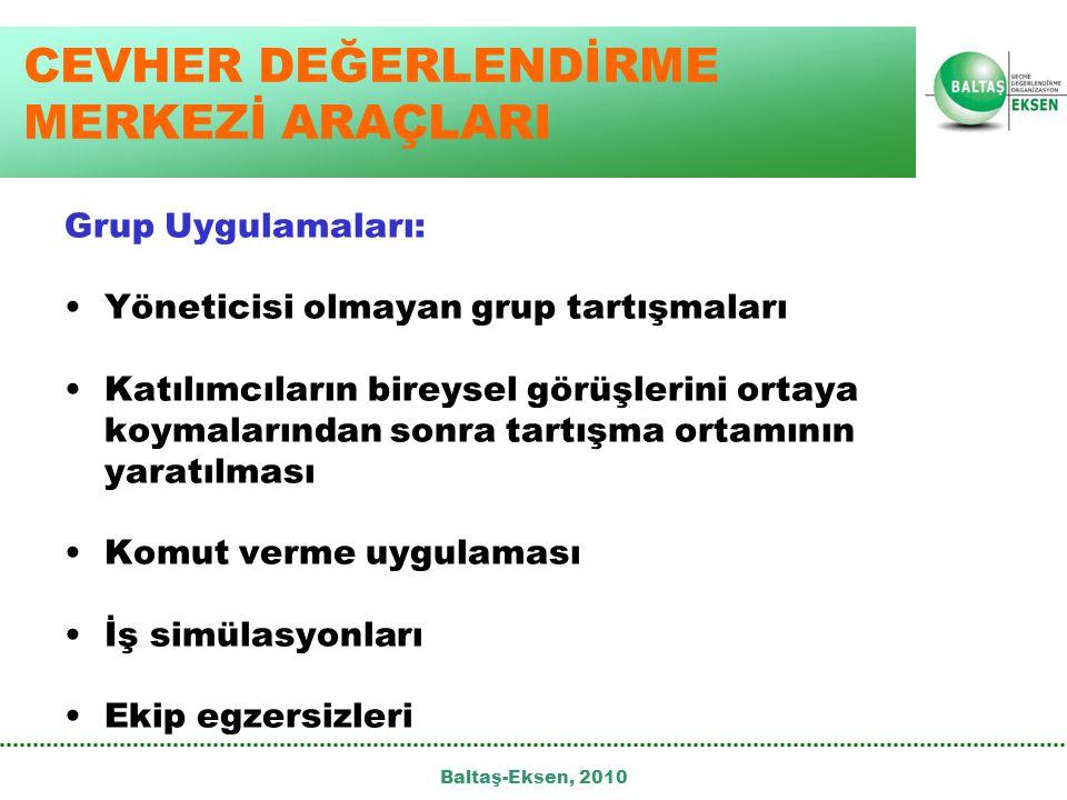 Baltaş-Eksen, 2010 CEVHER DEĞERLENDİRME MERKEZİ ARAÇLARI Grup Uygulamaları: •Yöneticisi olmayan grup tartışmaları •Katılımcıların bireysel görüşlerini