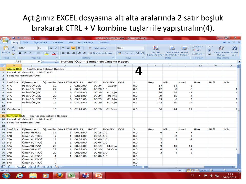 Açtığımız EXCEL dosyasına alt alta aralarında 2 satır boşluk bırakarak CTRL + V kombine tuşları ile yapıştıralım(4). 4