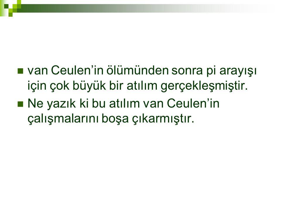  van Ceulen'in ölümünden sonra pi arayışı için çok büyük bir atılım gerçekleşmiştir.
