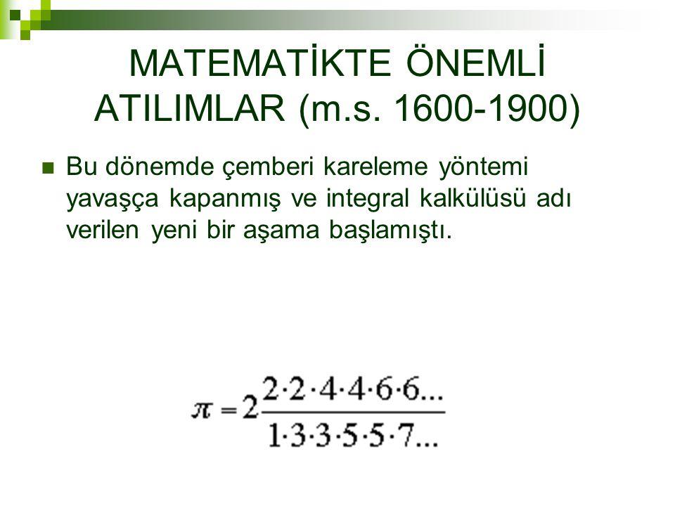 MATEMATİKTE ÖNEMLİ ATILIMLAR (m.s.