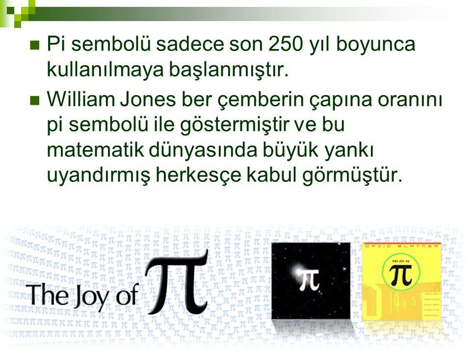  Pi sembolü sadece son 250 yıl boyunca kullanılmaya başlanmıştır.