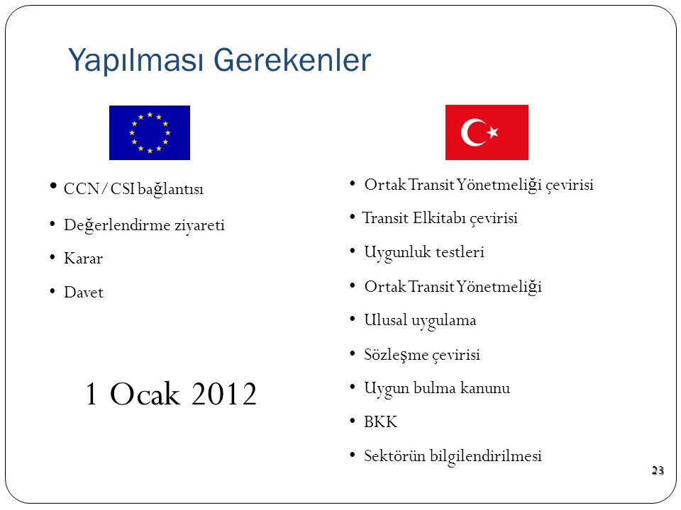  AB Komisyonu ile ikili Toplantı, Ş ubat 2010, İ stanbul  Hazırlıklar yeterli  CCN/CSI ba ğ lantısı  Türkiye-AT G İ K Toplantısı, Ekim 2010, Brüks