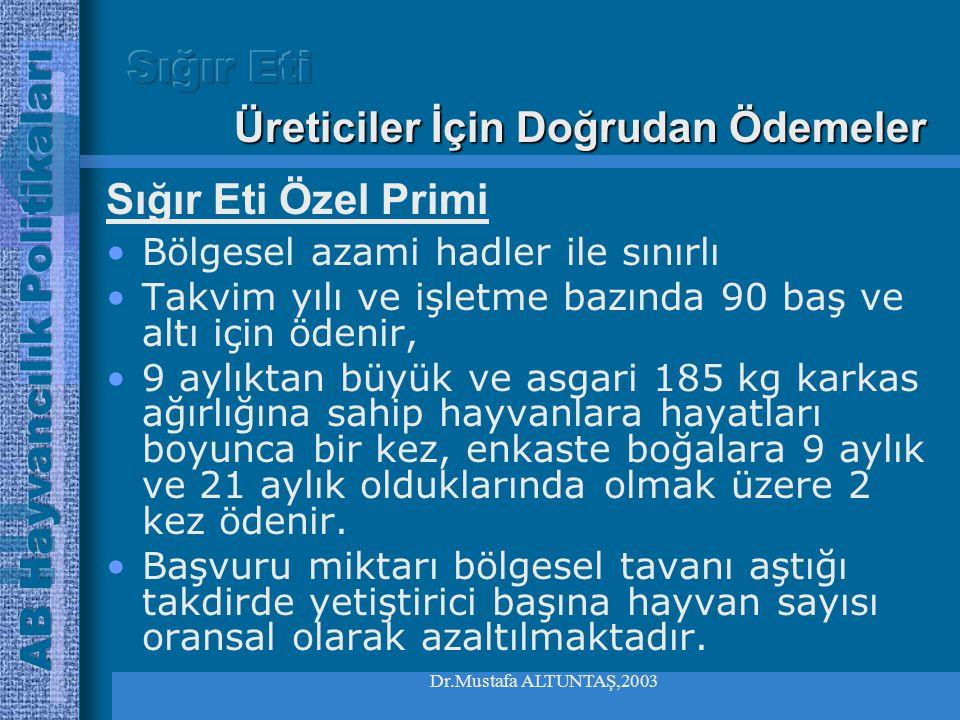 Dr.Mustafa ALTUNTAŞ,2003 •Prim ödemeleri için başvuruda bulunulan hayvanların tanımlama ve kayıt şartı bulunmaktadır. •Tüketiciyi bilgilendirmeyi amaç