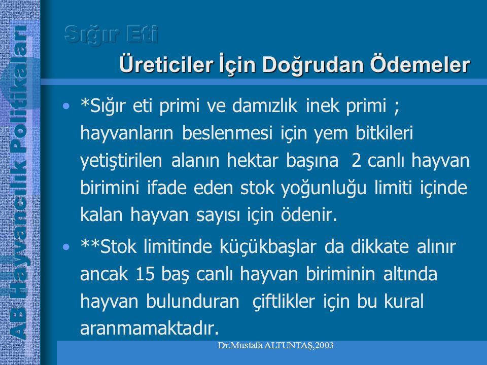 Dr.Mustafa ALTUNTAŞ,2003 •Damızlık inek primi yetiştiriciler arasında geçici veya daimi olarak transfer edilebilmektedir, •Üye ülkeler ulusal inek pri