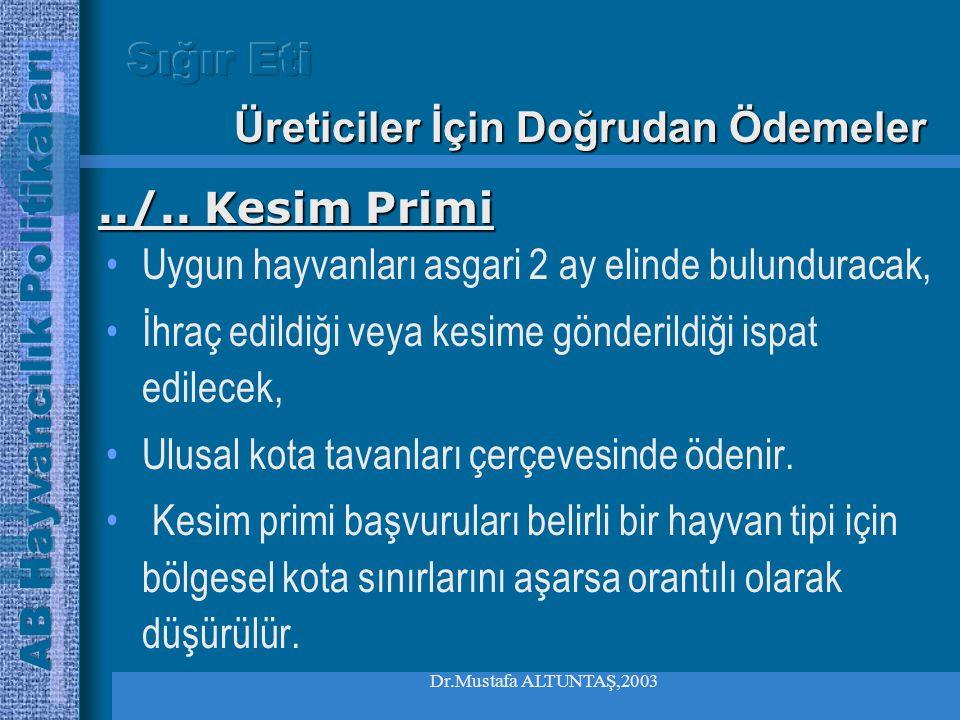 Dr.Mustafa ALTUNTAŞ,2003 •Üçüncü ülkelere ihracat veya kesim halinde ödenir •8 aylıktan büyük erkekler,süt inekleri, gebe inek ve düveler için uygulan