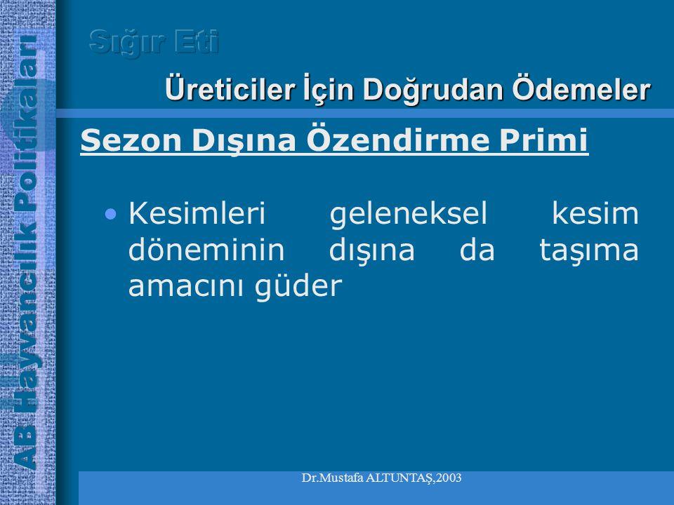 Dr.Mustafa ALTUNTAŞ,2003 •Uygun hayvanları asgari 2 ay elinde bulunduracak, •İhraç edildiği veya kesime gönderildiği ispat edilecek, •Ulusal kota tava