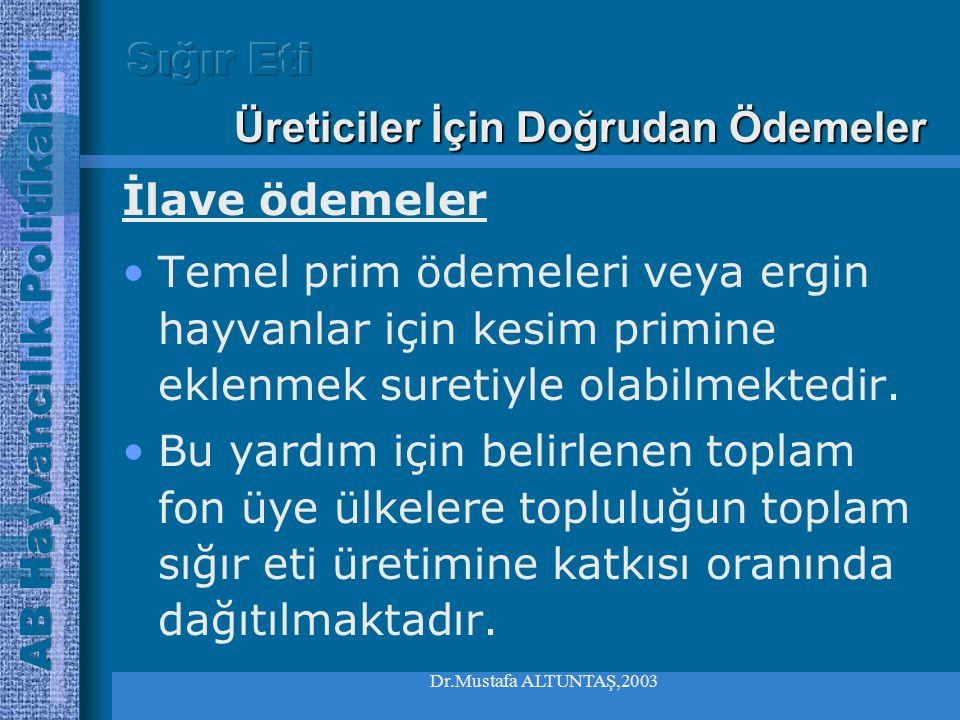 Dr.Mustafa ALTUNTAŞ,2003 •Kesimleri geleneksel kesim döneminin dışına da taşıma amacını güder Üreticiler İçin Doğrudan Ödemeler Sezon Dışına Özendirme