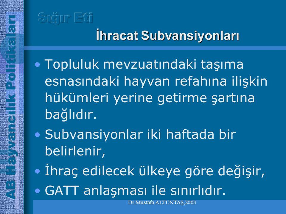 Dr.Mustafa ALTUNTAŞ,2003 •Ortak gümrük tarifesinde yer alan ithalat vergilerine tabidir Sığır ve dana dana eti ithalatı