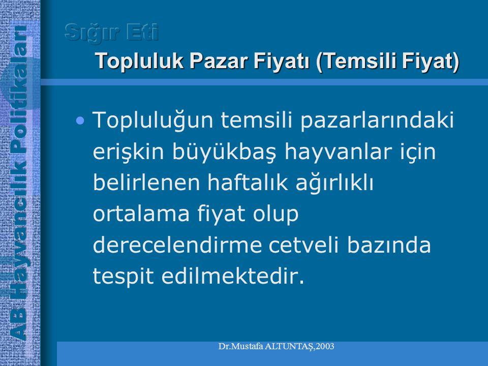 Dr.Mustafa ALTUNTAŞ,2003 Karkas derecelendirme cetveli •Katogori  AGenç boğalar  BErişkin boğalar  CEnkaste boğalar  Dİnekler  EDüveler •Sınıflan