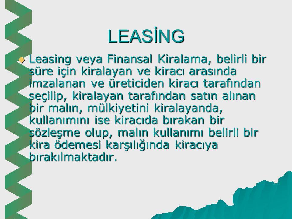 Orta Vadeli Fon Kaynakları  Orta Vadeli Banka Kredileri  Sigorta Şirketlerinin Orta Vadeli Kredileri  Makine ve Teçhizat Karşılığı Orta Vadeli Kredi  Leasing  Forfaiting