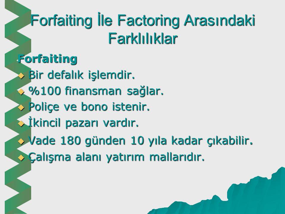 Forfaiting İle Factoring Arasındaki Farklılıklar Factoring  Devamlı bir işlemdir.  %80 kadar finansman sağlar.  Sadece fatura yeterlidir.  Banka a