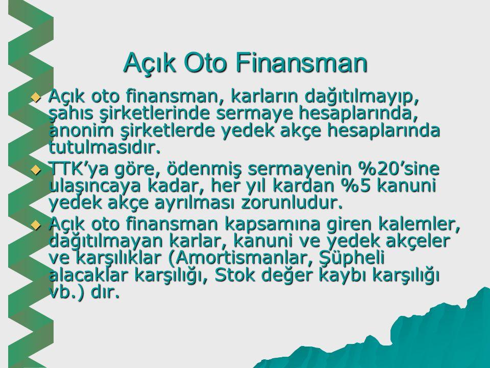 Oto Finansman  Oto finansman, bir işletmenin elde ettiği kârın tümünü veya bir kısmını dağıtmayarak işletme bünyesinde bırakmasıdır.  Oto finansman