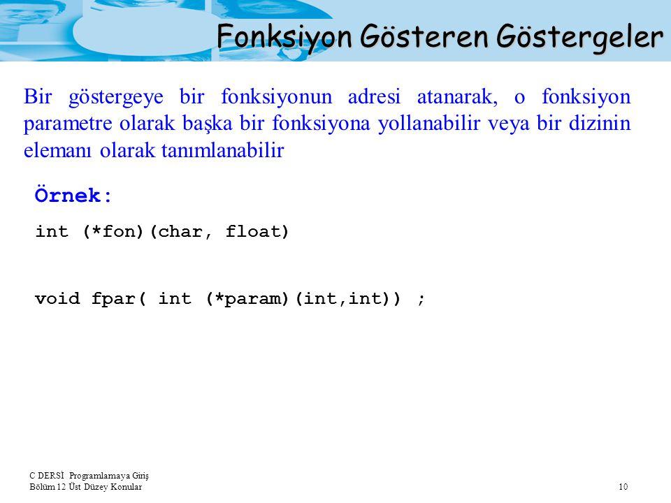 C DERSİ Programlamaya Giriş Bölüm 12 Üst Düzey Konular 10 Fonksiyon Gösteren Göstergeler Bir göstergeye bir fonksiyonun adresi atanarak, o fonksiyon p