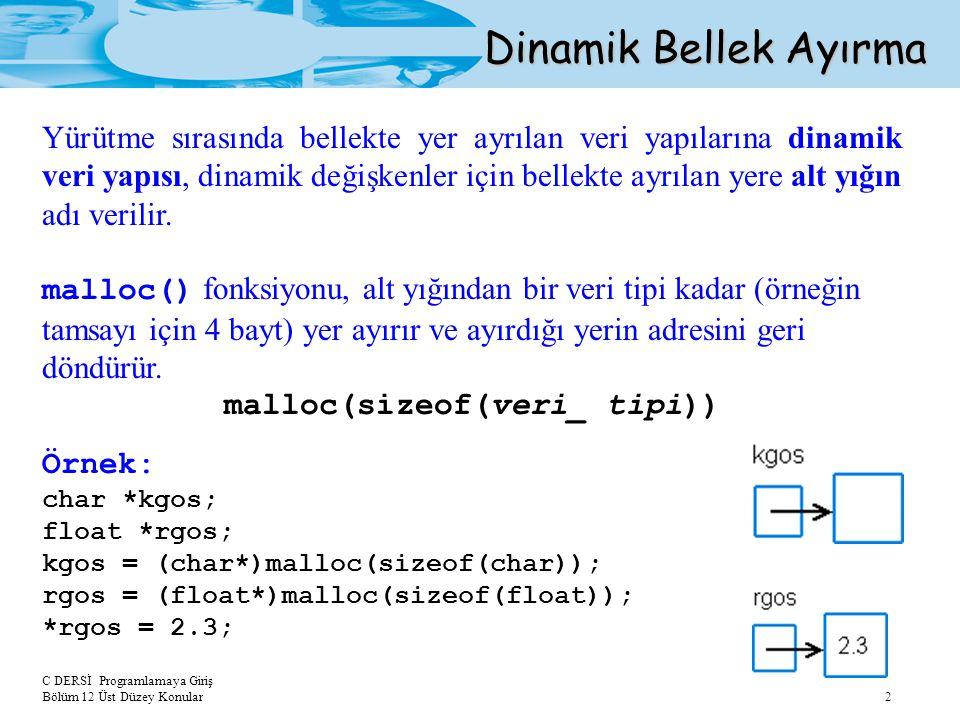 C DERSİ Programlamaya Giriş Bölüm 12 Üst Düzey Konular 2 Dinamik Bellek Ayırma Yürütme sırasında bellekte yer ayrılan veri yapılarına dinamik veri yapısı, dinamik değişkenler için bellekte ayrılan yere alt yığın adı verilir.