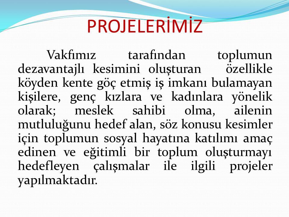 1-HALI DOKUMA EĞİTİMİ KURSLARININ YAYGINLAŞTIRILMASI PROJESİ  UYGULA MA YILI: 2012 den itibaren  ŞU ANA KADAR YARARLANAN SAYISI : 290 KİŞİ  MAHİYETİ: Bayanlara yönelik halı-kilim atölyeleri Mevcut : 10 Kilim : 2 Hedef:15 adet  SONUÇ : Proje Devam Etmektedir