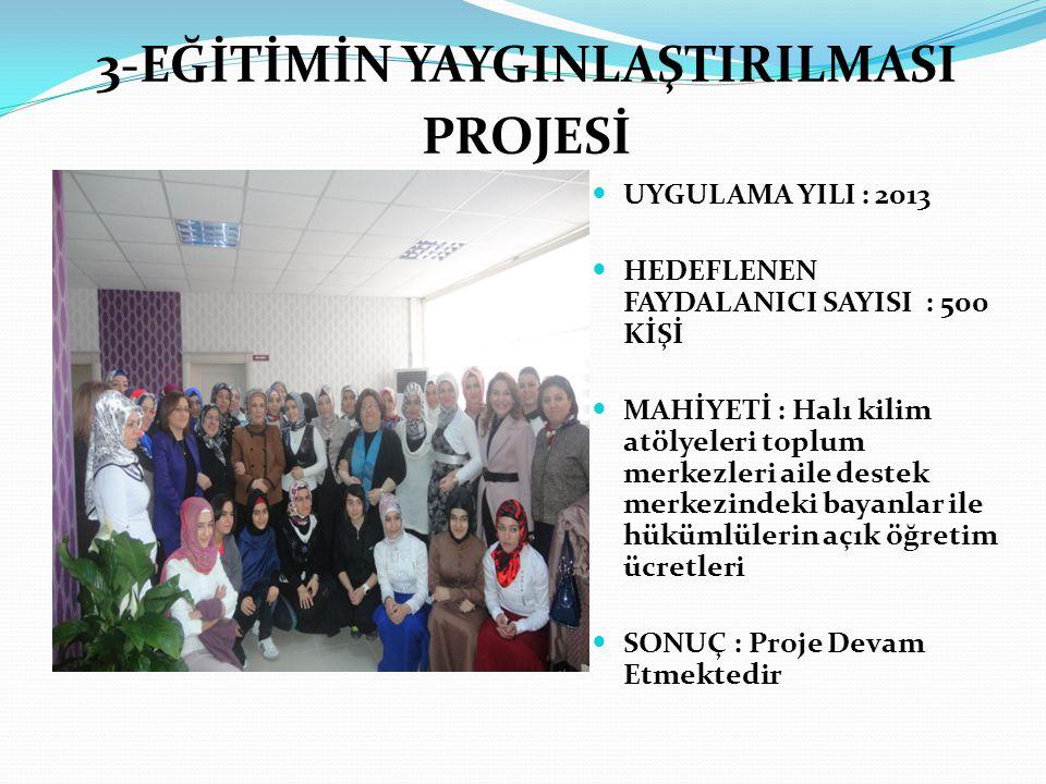 4-SAĞLIKLI YAŞAM VE BİLİNÇLİ SPOR YAPMA EĞİTİMİ PROJESİ  UYGULAMA YILI : 2013  YARARLANICI KİTLE: HERKES  MAHİYETİ : Atatürk stadyumu yan tarafında spor alanı  SONUÇ : Proje Devam Etmektedir