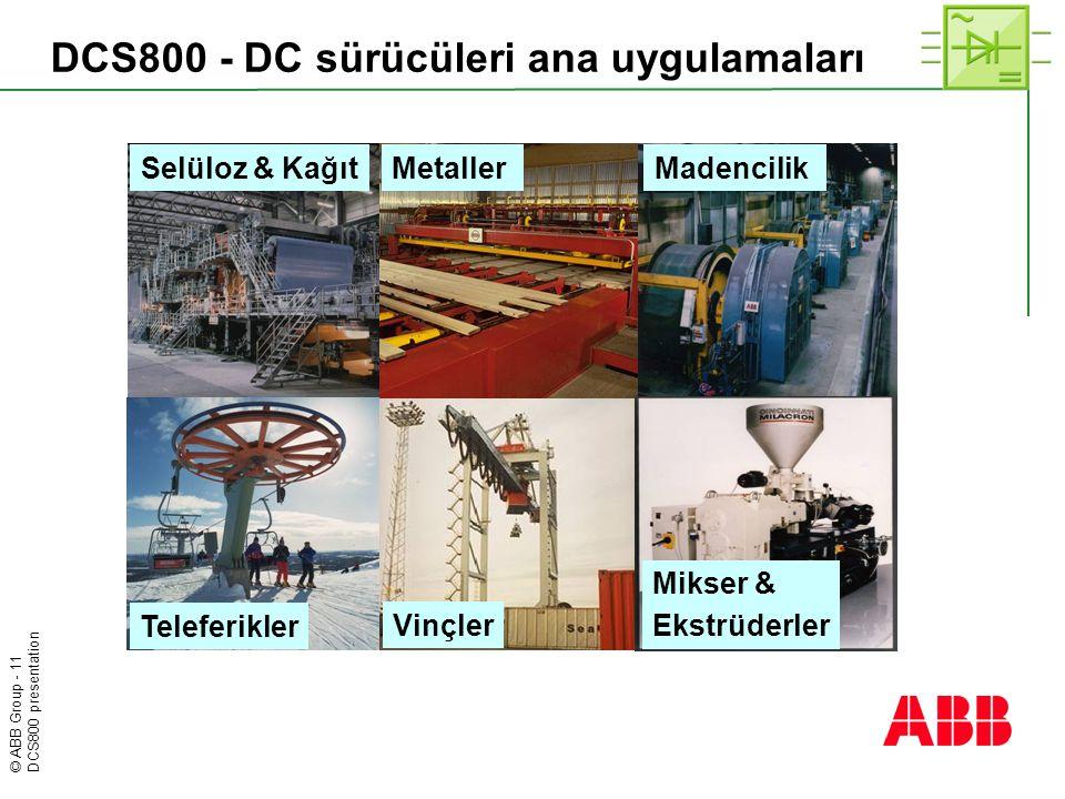© ABB Group - 11 DCS800 presentation Metaller Vinçler Selüloz & Kağıt Teleferikler Mikser & Ekstrüderler Madencilik DCS800 - DC sürücüleri ana uygulam