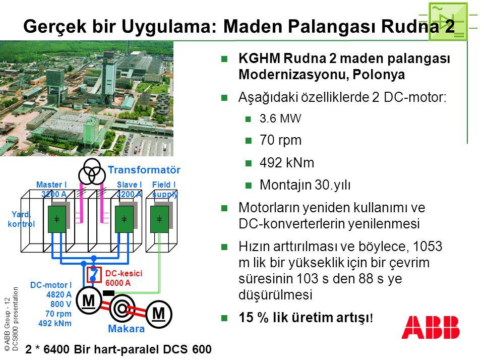 © ABB Group - 12 DCS800 presentation Gerçek bir Uygulama: Maden Palangası Rudna 2  KGHM Rudna 2 maden palangası Modernizasyonu, Polonya  Aşağıdaki ö