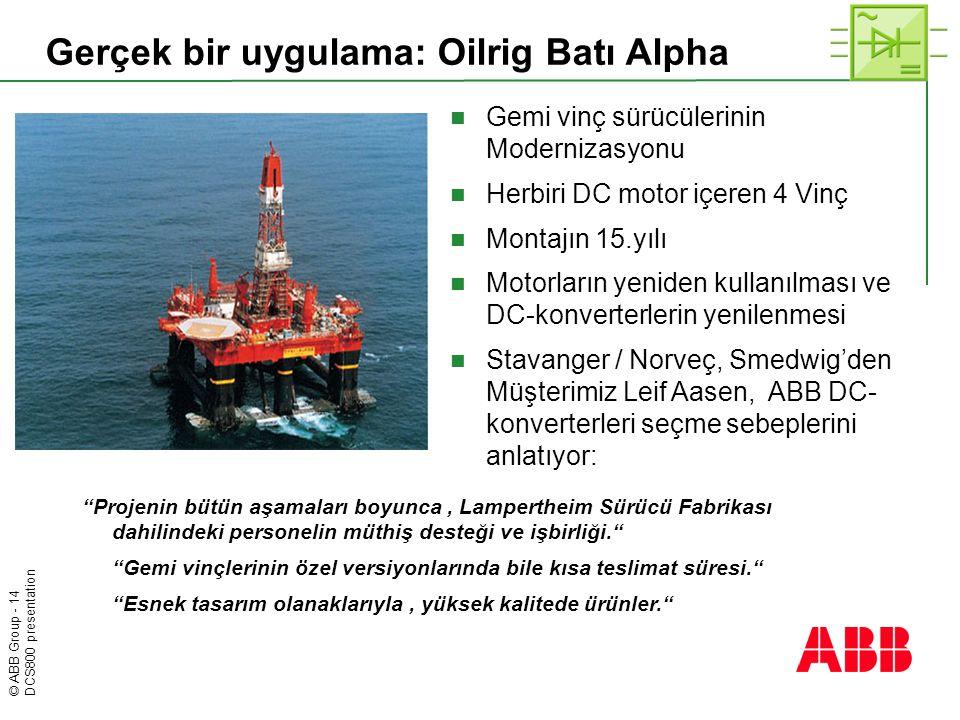 © ABB Group - 14 DCS800 presentation Gerçek bir uygulama: Oilrig Batı Alpha  Gemi vinç sürücülerinin Modernizasyonu  Herbiri DC motor içeren 4 Vinç