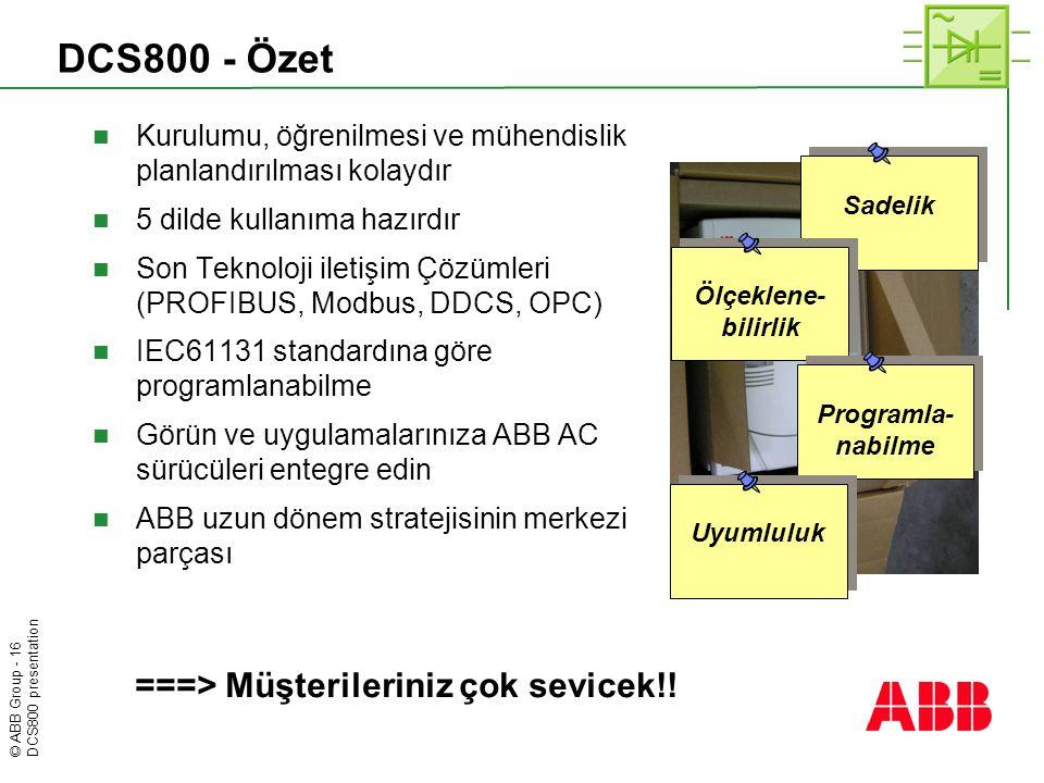 © ABB Group - 16 DCS800 presentation DCS800 - Özet  Kurulumu, öğrenilmesi ve mühendislik planlandırılması kolaydır  5 dilde kullanıma hazırdır  Son