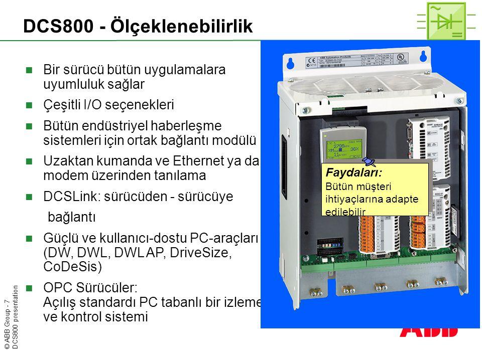 © ABB Group - 8 DCS800 presentation DCS800 - Programlanabilme Faydaları: Ek donanıma ihtiyaç duyulmamaktadır IEC61131 ve CoDeSys gibi ortak standartlar deneme zamanını azaltır Faydaları: Ek donanıma ihtiyaç duyulmamaktadır IEC61131 ve CoDeSys gibi ortak standartlar deneme zamanını azaltır  PLC dahil edilmiştir  Standart olarak hiçbir sürücüde, ek bir elektronik karta ihtiyaç duyulmamaktadır  Adaptif Program  Panelde parametre ayarı kadar basittir  DCS800 Kontrol İnşası  Bütün IEC61131 dilleri desteklenmiştir  Önceden konfigüre edilmiş çeşitli fonksiyon blokları (ör.