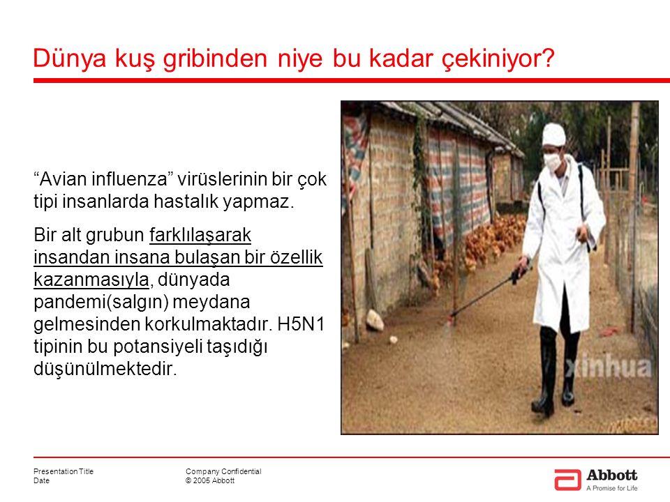 """Presentation Title Date Company Confidential © 2005 Abbott Dünya kuş gribinden niye bu kadar çekiniyor? """"Avian influenza"""" virüslerinin bir çok tipi in"""