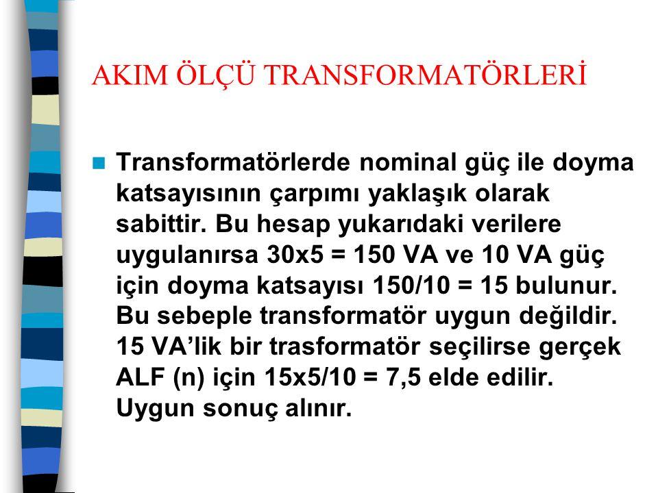 AKIM ÖLÇÜ TRANSFORMATÖRLERİ  Transformatörlerde nominal güç ile doyma katsayısının çarpımı yaklaşık olarak sabittir. Bu hesap yukarıdaki verilere uyg