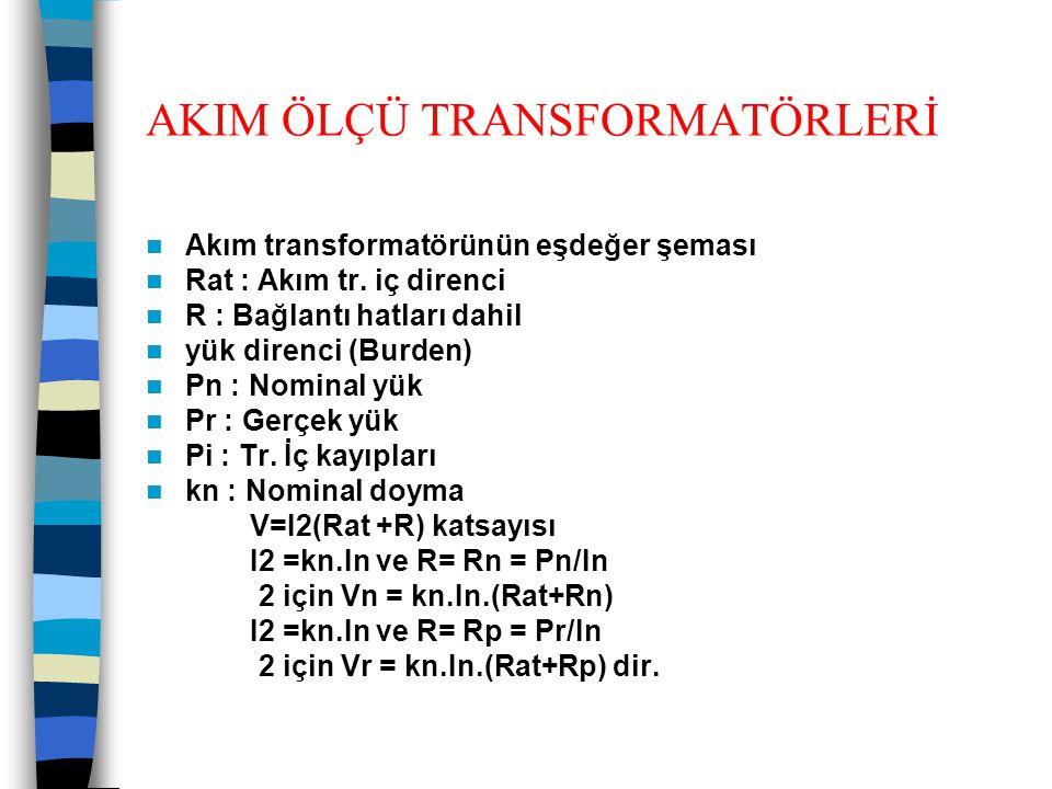 AKIM ÖLÇÜ TRANSFORMATÖRLERİ  Akım transformatörünün eşdeğer şeması  Rat : Akım tr. iç direnci  R : Bağlantı hatları dahil  yük direnci (Burden) 