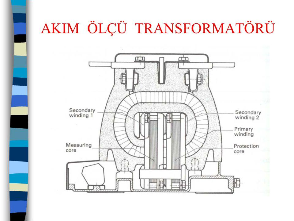 AKIM ÖLÇÜ TRANSFORMATÖRLERİ  Örnek: Etiket değerleri 38 kV; 50 Hz; Ith 25 kA; Idyn 62,5 kA  150/5; 1S1-1S2 15 VA; sınıf : ± 1 FS <10  150/5; 2S1-2S2 15 VA; 5P n = 10 olan akım transformatörü 34,5 kV'da, bir sargısı ölçme, diğer sargısı koruma maksadı ile kullanılabilecektir.