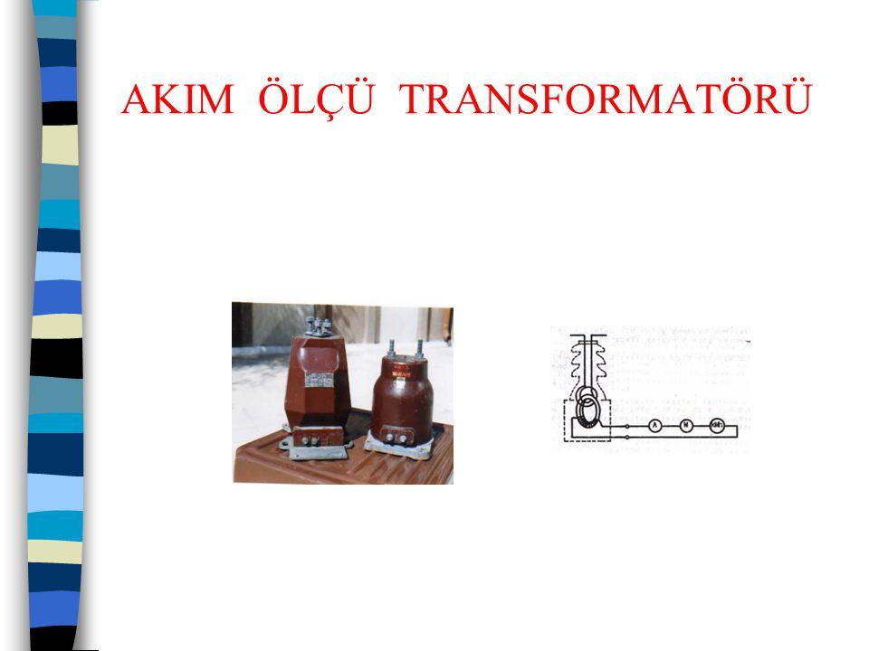 AKIM ÖLÇÜ TRANSFORMATÖRLERİ  Akım transformatörünün eşdeğer şeması  Yüke göre akım transformatörünün çalışma noktası  Küçük yük dirençleri halinde Vn çalışma noktasına gelebilmek için  kn katsayısından büyük bir kr katsayısı gerekir.