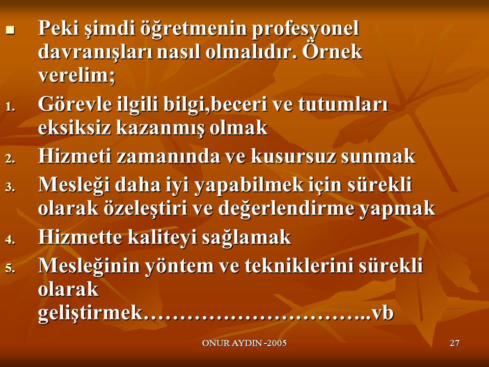 ONUR AYDIN -200527  Peki şimdi öğretmenin profesyonel davranışları nasıl olmalıdır.