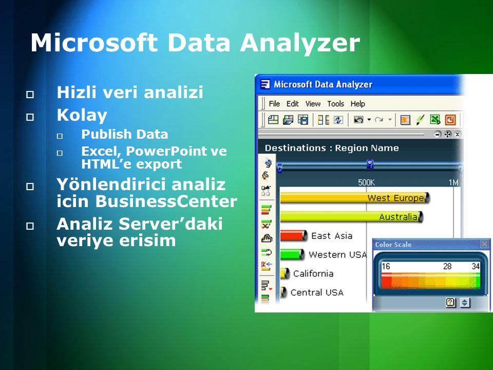 Microsoft Data Analyzer  Hizli veri analizi  Kolay  Publish Data  Excel, PowerPoint ve HTML'e export  Yönlendirici analiz icin BusinessCenter  Analiz Server'daki veriye erisim