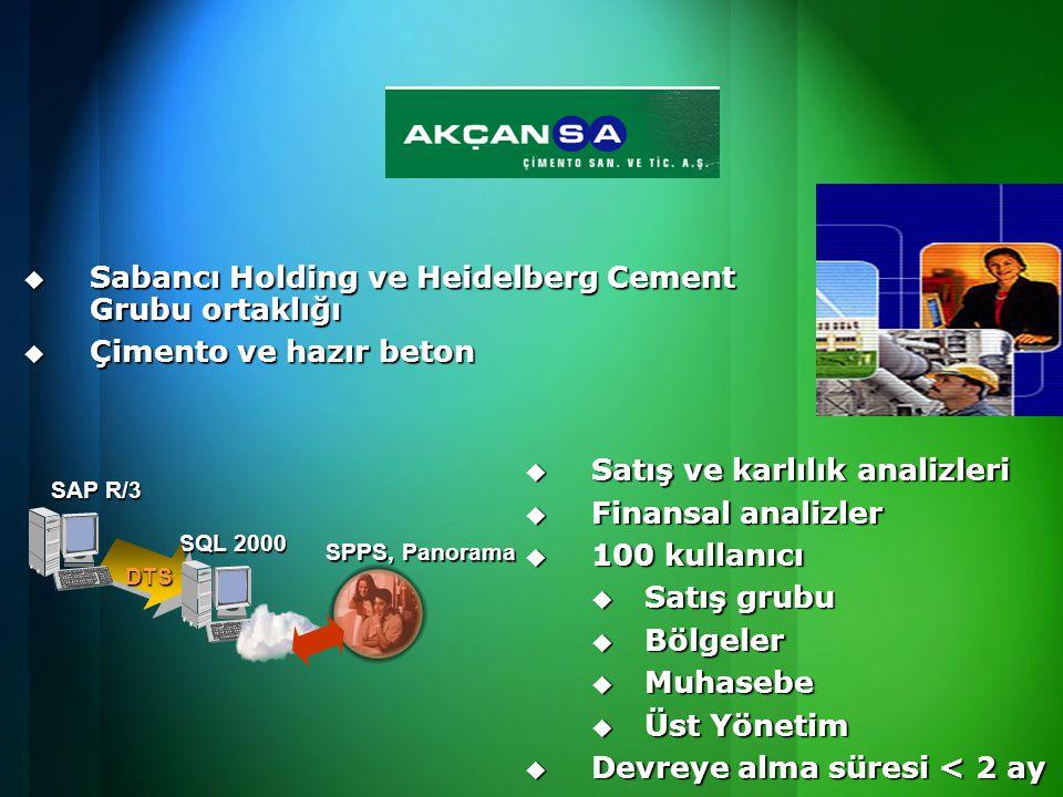  Sabancı Holding ve Heidelberg Cement Grubu ortaklığı  Çimento ve hazır beton  Satış ve karlılık analizleri  Finansal analizler  100 kullanıcı  Satış grubu  Bölgeler  Muhasebe  Üst Yönetim  Devreye alma süresi < 2 ay SAP R/3 SQL 2000 DTS SPPS, Panorama