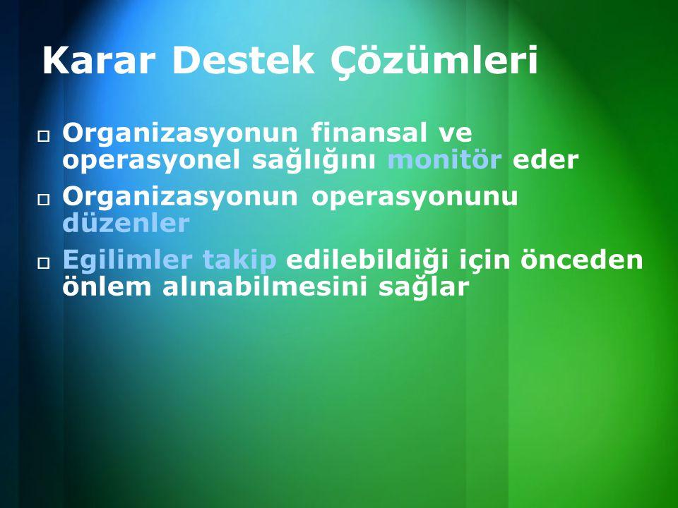  Organizasyonun finansal ve operasyonel sağlığını monitör eder  Organizasyonun operasyonunu düzenler  Egilimler takip edilebildiği için önceden önl
