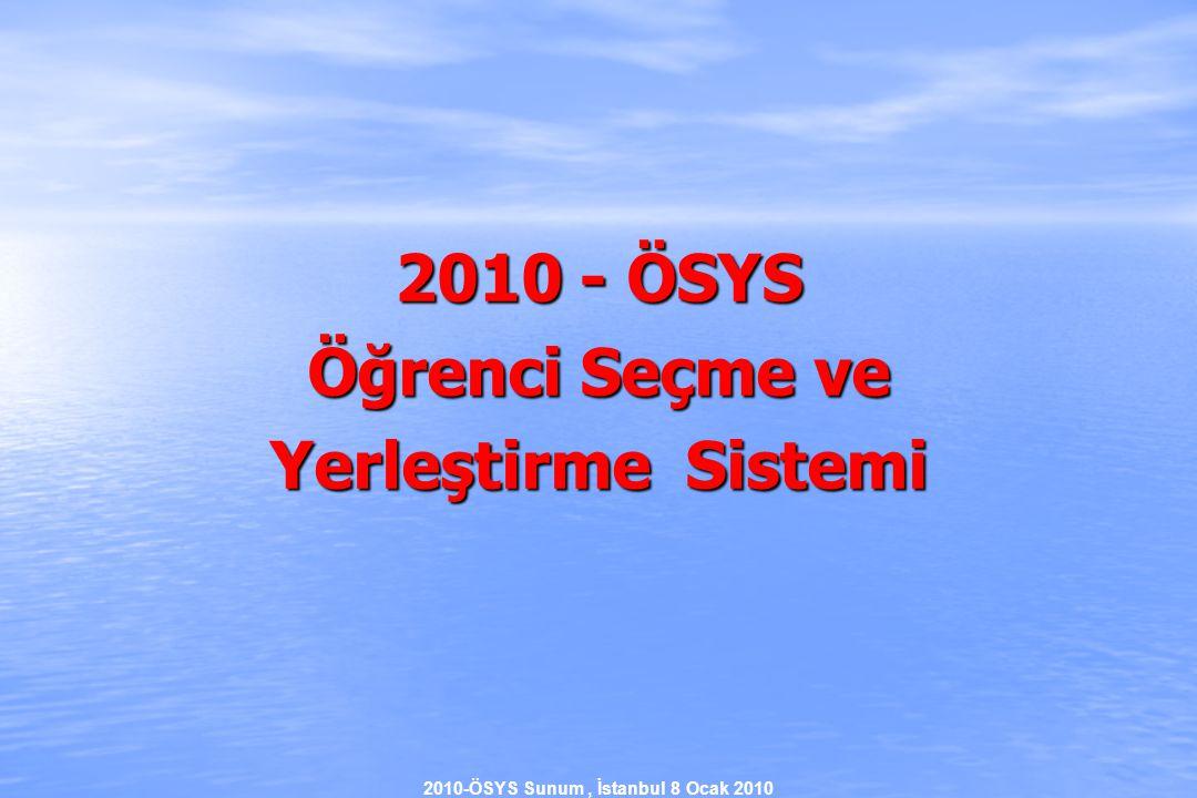 2010-ÖSYS Sunum, İstanbul 8 Ocak 2010 2010- ÖSYS  Yerleştirme Puanlarının Hesaplanması 2) Meslek lisesi ve öğretmen lisesi çıkışlı adaylar kendi alanlarındaki lisans programlarına yerleştirilirken yerleştirme puanlarına eklenecek ek puan (0,05 x AOBP) olarak hesaplanacaktır.