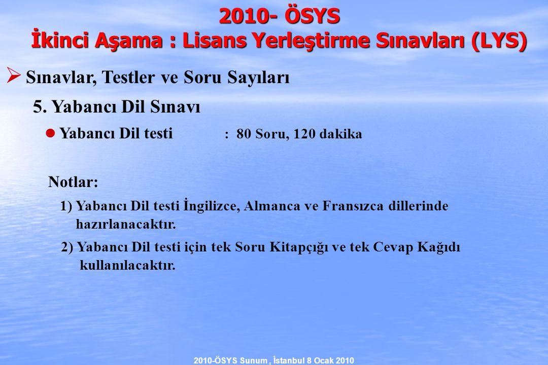 2010-ÖSYS Sunum, İstanbul 8 Ocak 2010 2010- ÖSYS İkinci Aşama : Lisans Yerleştirme Sınavları (LYS)  Sınavlar, Testler ve Soru Sayıları 5.