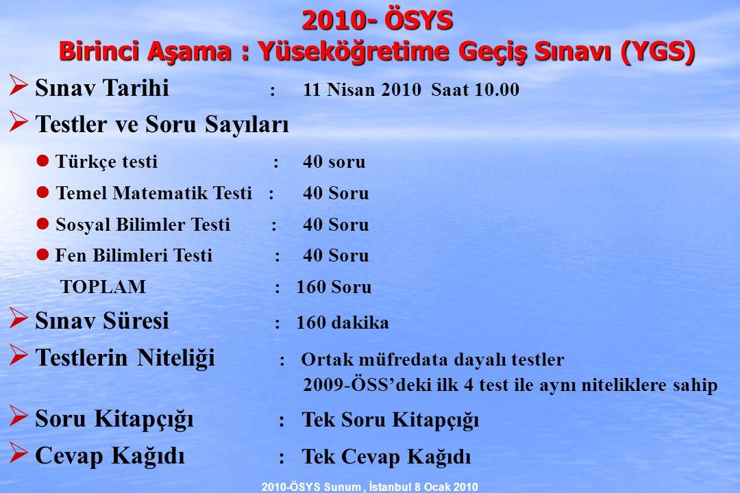2010-ÖSYS Sunum, İstanbul 8 Ocak 2010  2009 ve 2010 ÖSYS'de Alan İçi – Alan Dışı Farkı'nın Okul Başarısından max 80 puan Sınav Puanı X Sınav Puanı X + 50 Aday A (alan içi)Aday B (alan dışı) 2009-ÖSYS'de Sınav Puanı X + 10 Aday A (alan içi) Aday B (alan dışı) Sınav Puanı X 2010-ÖSYS'de max 65 ğuan Sonuç: 2009'da aşılması nerdeyse imkansız olan Alan İçi – Alan Dışı farkı, 2010'da çok azalmaktadır.