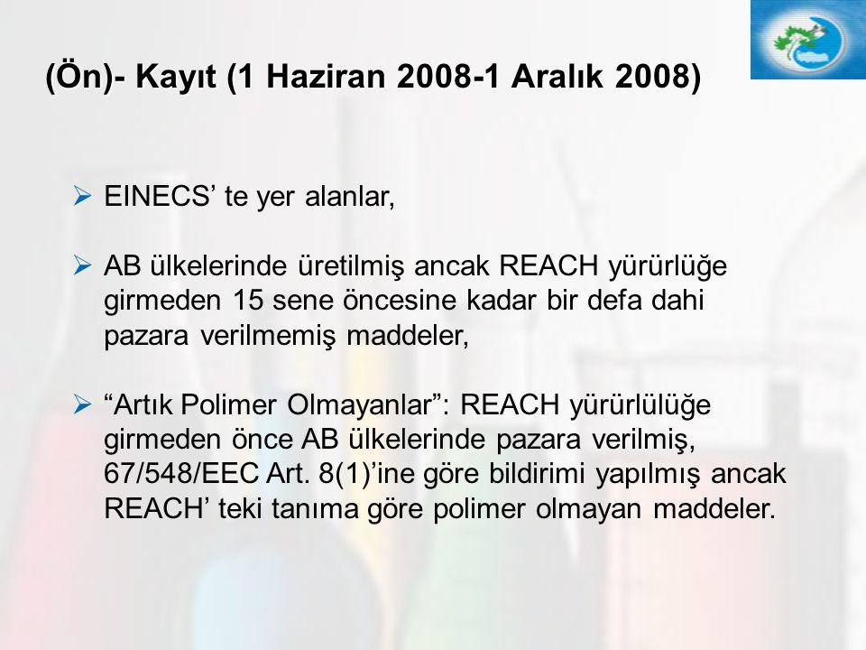 17 (Ön)- Kayıt (1 Haziran 2008-1 Aralık 2008)  EINECS' te yer alanlar,  AB ülkelerinde üretilmiş ancak REACH yürürlüğe girmeden 15 sene öncesine kad