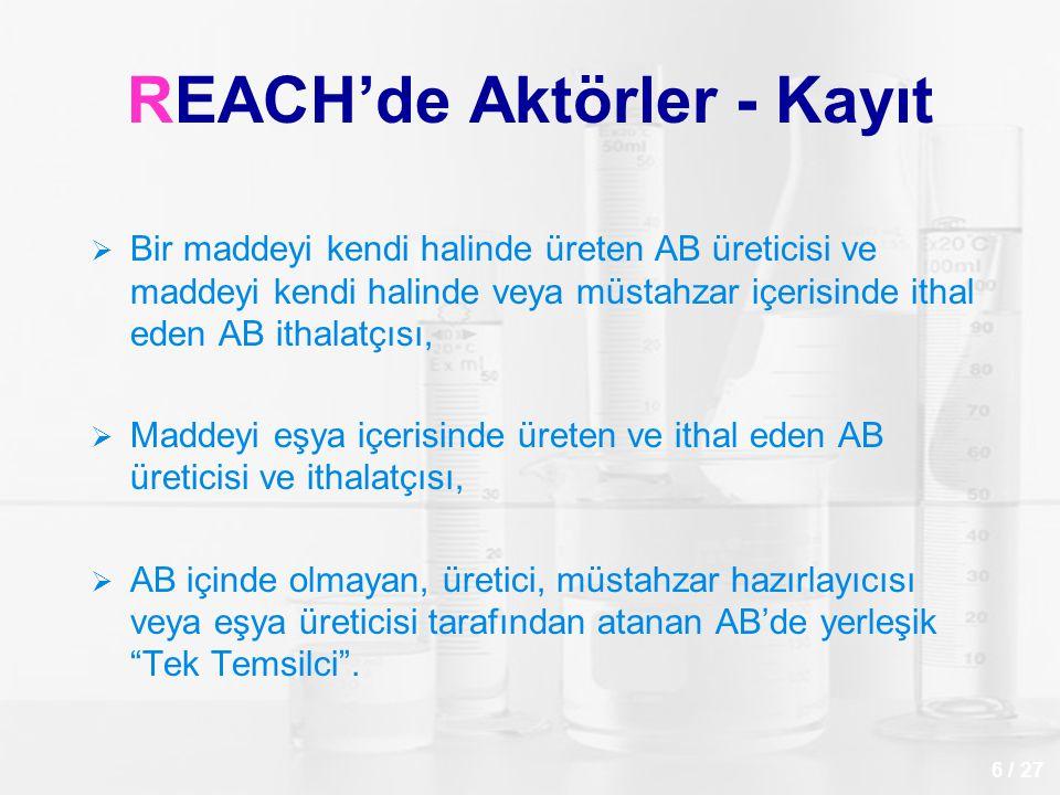 REACH'de Aktörler - Kayıt   Bir maddeyi kendi halinde üreten AB üreticisi ve maddeyi kendi halinde veya müstahzar içerisinde ithal eden AB ithalatçı