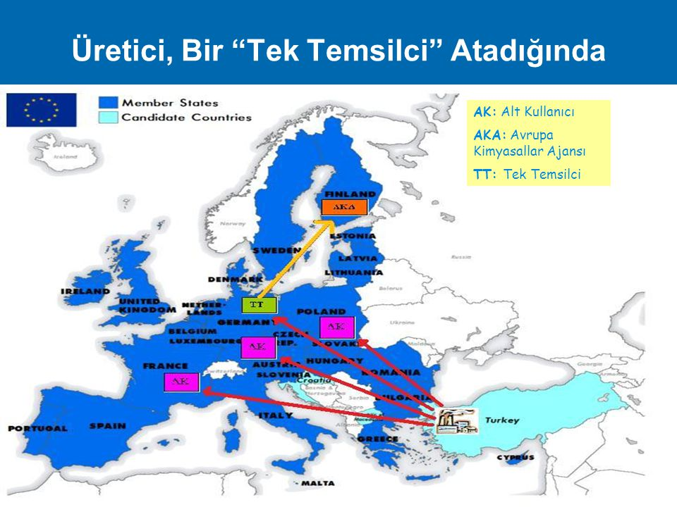 """Üretici, Bir """"Tek Temsilci"""" Atadığında AK: Alt Kullanıcı AKA: Avrupa Kimyasallar Ajansı TT: Tek Temsilci 8 / 27"""