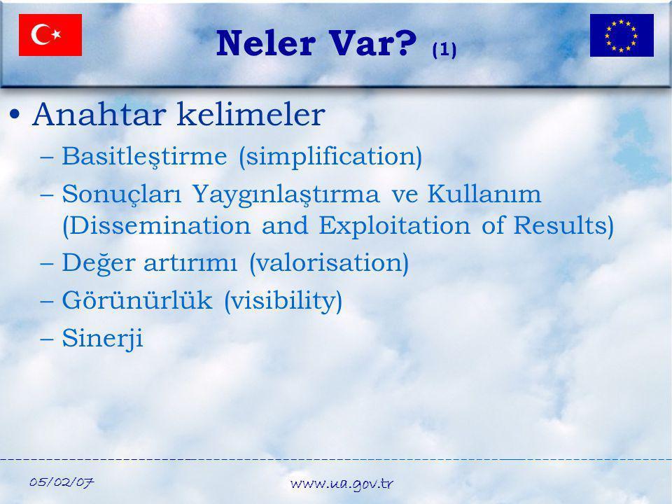 05/02/07 www.ua.gov.tr Neler Var? (1) •Anahtar kelimeler –Basitleştirme (simplification) –Sonuçları Yaygınlaştırma ve Kullanım (Dissemination and Expl