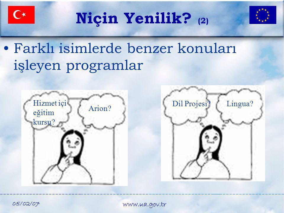 05/02/07 www.ua.gov.tr •Farklı isimlerde benzer konuları işleyen programlar Dil Projesi?Lingua? Niçin Yenilik? (2) Hizmet içi eğitim kursu? Arion?