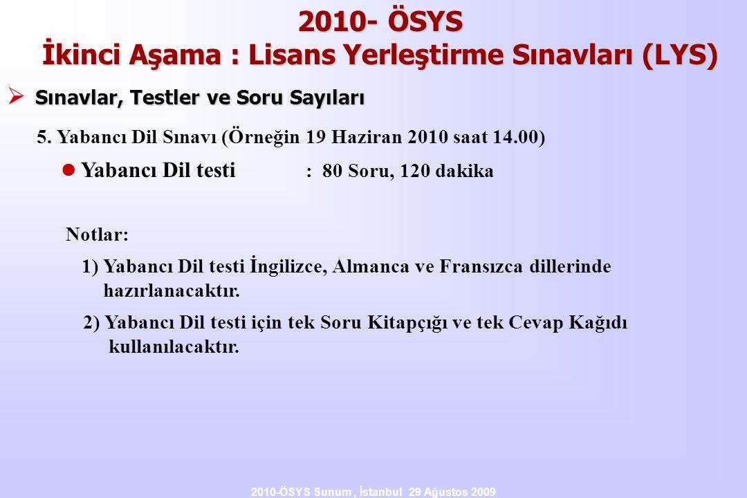 2010-ÖSYS Sunum, İstanbul 29 Ağustos 2009 2010- ÖSYS İkinci Aşama : Lisans Yerleştirme Sınavları (LYS)  Sınavlar, Testler ve Soru Sayıları 5. Yabancı
