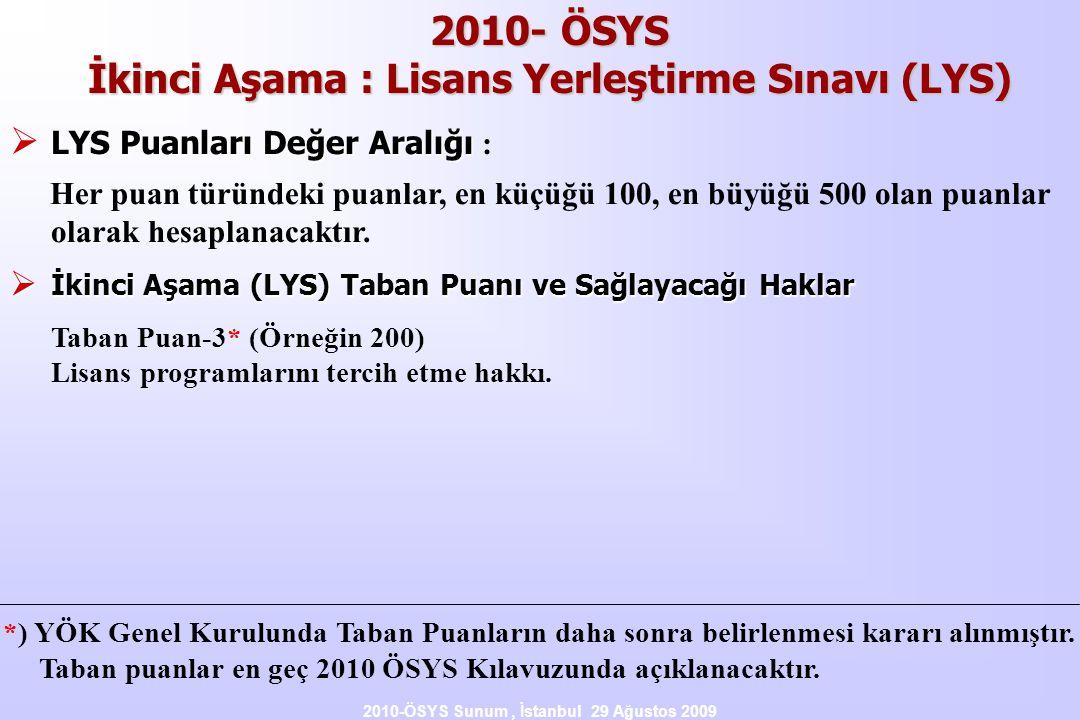 2010-ÖSYS Sunum, İstanbul 29 Ağustos 2009 2010- ÖSYS İkinci Aşama : Lisans Yerleştirme Sınavı (LYS)  LYS Puanları Değer Aralığı  LYS Puanları Değer Aralığı : Her puan türündeki puanlar, en küçüğü 100, en büyüğü 500 olan puanlar olarak hesaplanacaktır.