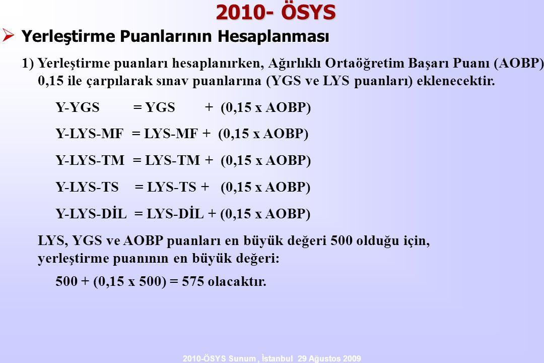 2010-ÖSYS Sunum, İstanbul 29 Ağustos 2009 2010- ÖSYS  Yerleştirme Puanlarının Hesaplanması 1) Yerleştirme puanları hesaplanırken, Ağırlıklı Ortaöğret