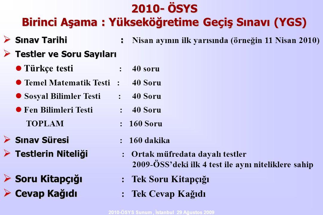 2010-ÖSYS Sunum, İstanbul 29 Ağustos 2009 2010- ÖSYS Birinci Aşama : Yükseköğretime Geçiş Sınavı (YGS)  Sınav Tarihi :  Sınav Tarihi : Nisan ayının ilk yarısında (örneğin 11 Nisan 2010)  Testler ve Soru Sayıları  Türkçe testi : 40 soru  Temel Matematik Testi :40 Soru  Sosyal Bilimler Testi :40 Soru  Fen Bilimleri Testi :40 Soru TOPLAM : 160 Soru  Sınav Süresi  Sınav Süresi : 160 dakika  Testlerin Niteliği  Testlerin Niteliği : Ortak müfredata dayalı testler 2009-ÖSS'deki ilk 4 test ile aynı niteliklere sahip  Soru Kitapçığı  Soru Kitapçığı : Tek Soru Kitapçığı  Cevap Kağıdı  Cevap Kağıdı : Tek Cevap Kağıdı