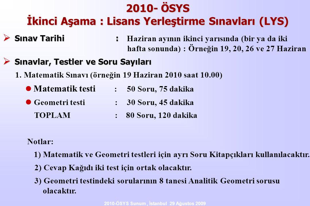 2010-ÖSYS Sunum, İstanbul 29 Ağustos 2009 2010- ÖSYS İkinci Aşama : Lisans Yerleştirme Sınavları (LYS)  Sınav Tarihi :  Sınav Tarihi : Haziran ayının ikinci yarısında (bir ya da iki hafta sonunda) : Örneğin 19, 20, 26 ve 27 Haziran  Sınavlar, Testler ve Soru Sayıları 1.