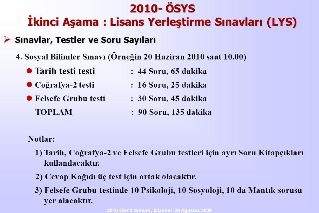 2010-ÖSYS Sunum, İstanbul 29 Ağustos 2009 2010- ÖSYS İkinci Aşama : Lisans Yerleştirme Sınavları (LYS)  Sınavlar, Testler ve Soru Sayıları 4.